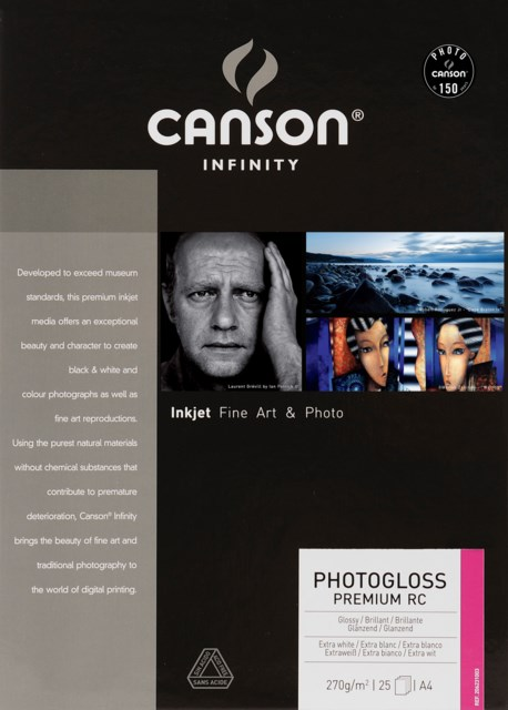 Canson PhotoGloss Premium RC 270gsm A4 25 ark