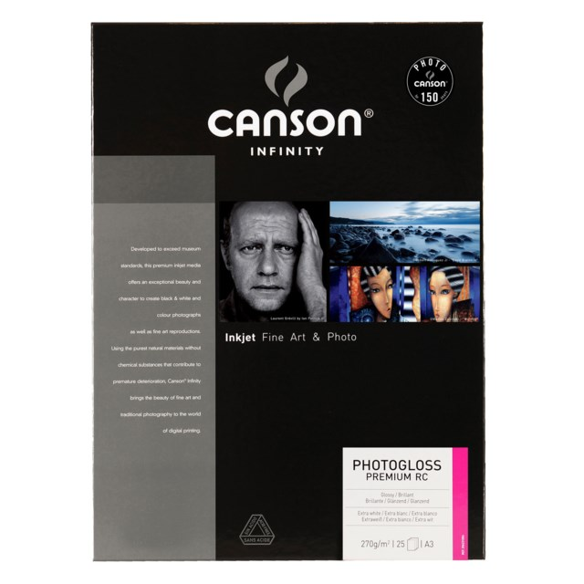 Canson PhotoGloss Premium RC 270gsm A3 25 ark