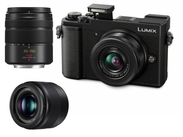 Panasonic Lumix DC-GX9 svart + Lumix G Vario 12-32mm + Lumix G 25mm f/1,7 ASPH + Lumix G Vario 45-150mm