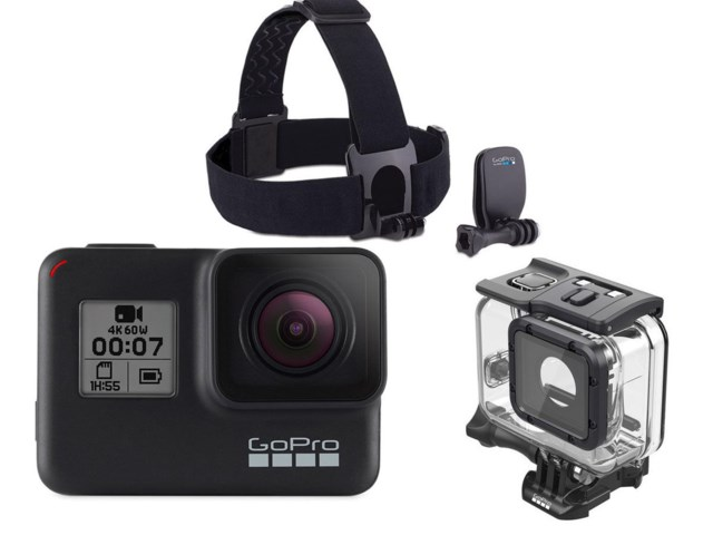 GoPro Hero 7 Black + Undervannshus Super Suit + Head Strap + QuickClip