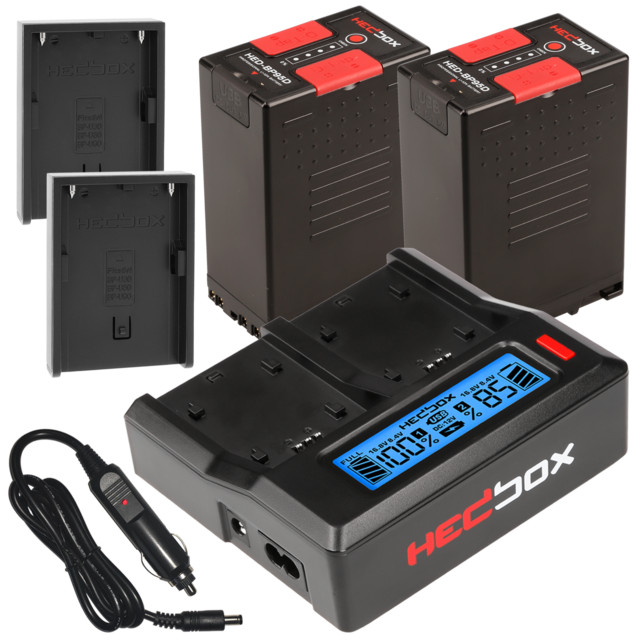 Hedbox BP95D BP-U Dual Charger Kit with two batteries