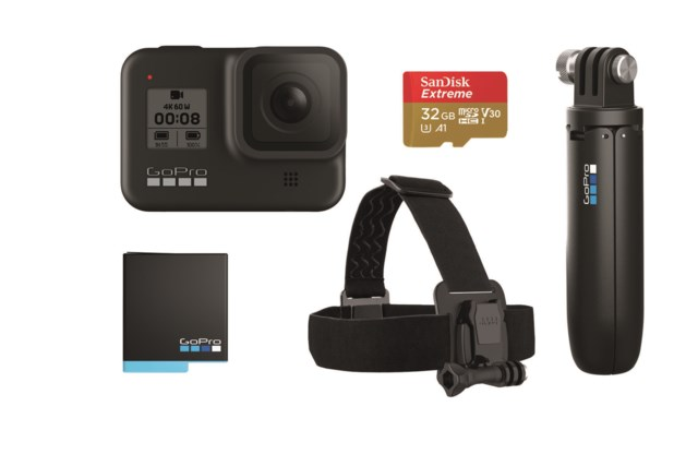 GoPro HERO8 Black Holiday Bundle Shorty + Battery + SD-Card + Head Strap