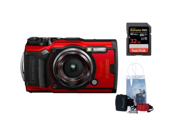 Olympus Tough TG-6 Rød +Adventure kit + 32GB minnekort