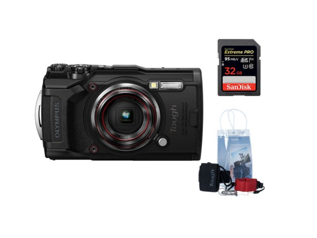 Olympus Tough TG-6 Svart + adventure kit + SDHC Ekstreme Pro 32GB 95MB/s UHS-I U3 V30