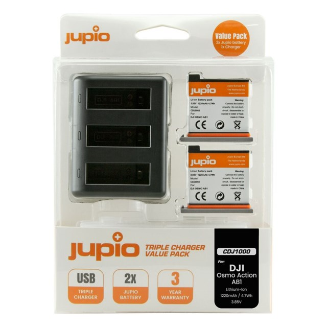 Jupio AB1 1220mAh 2-pack + USB Triple Charger DJI Osmo Action Batteri