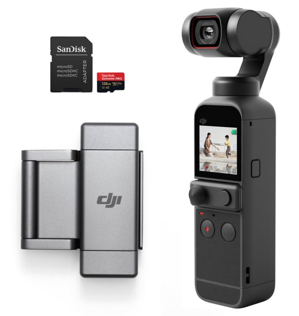 DJI Pocket 2 + Phone Clip + 128GB minnekort