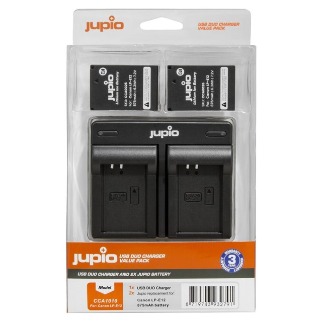 Jupio 2x Battery LP-E12 + USB Dual Charger (Value Pack), Canon