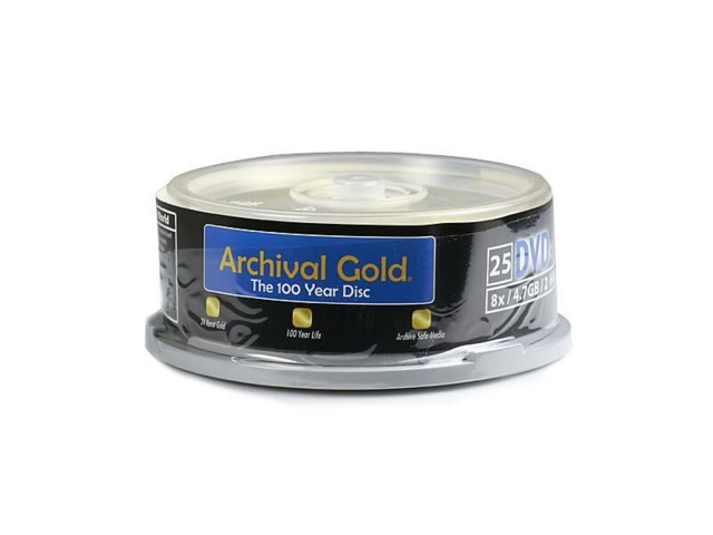Delkin DVD-R Archival Gold ripebestandig Cakebox spindel 25 st