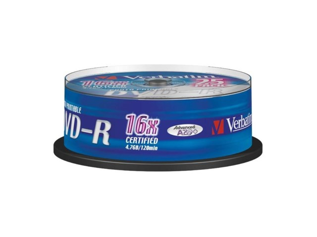 Verbatim DVD-R 4,7GB 16x Wide printable spindel 25-pack