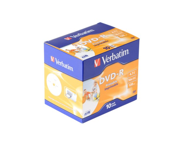 Verbatim DVD-R 4,7GB 16x printable jewelcase 10-pack